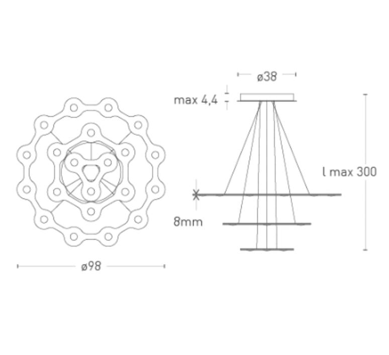 Flat saturn 3 villa tosca suspension pendant light  lumen center italia flas317227t  design signed 52786 product