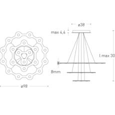 Flat saturn 3 villa tosca suspension pendant light  lumen center italia flas317227t  design signed 52786 thumb