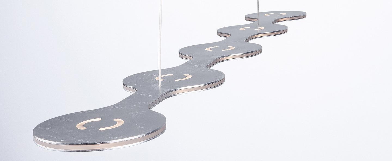 Suspension flat triac 5 argent led l100cm hcm lumen center italia normal