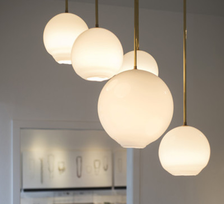 Trace Light Suspended Lights From Sklo: Suspension, Float 16, Laiton, Ø16cm, H41cm