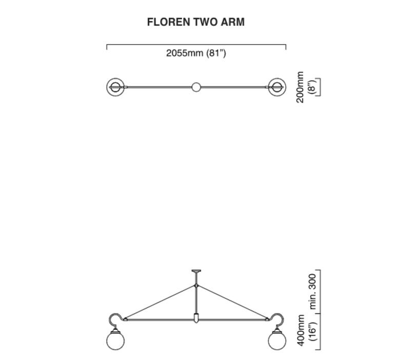 Floren 2 bras chris et clare turner suspension pendant light  cto lighting cto 01 075 0001  design signed 48308 product