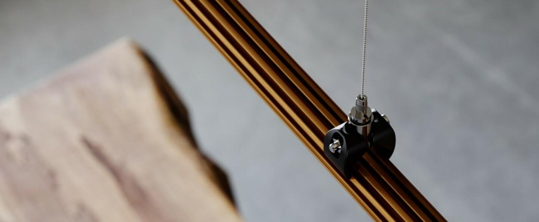 Suspension freeline f44 bronze ip40 led dimmable 3000k l100cm h2 3cm fabbian normal