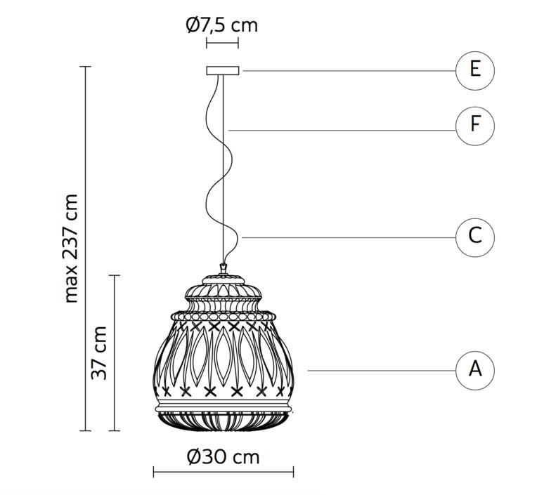 Ginger edmondo testaguzza suspension pendant light  karman ginger se116 3a int  design signed 37746 product