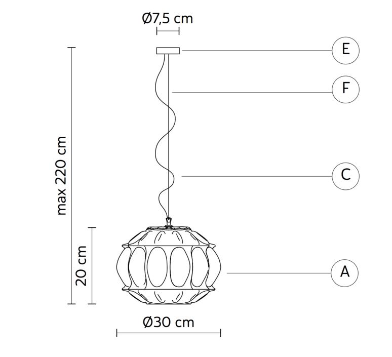 Ginger ovale edmondo testaguzza suspension pendant light  karman ginger se116 1a int  design signed 37740 product