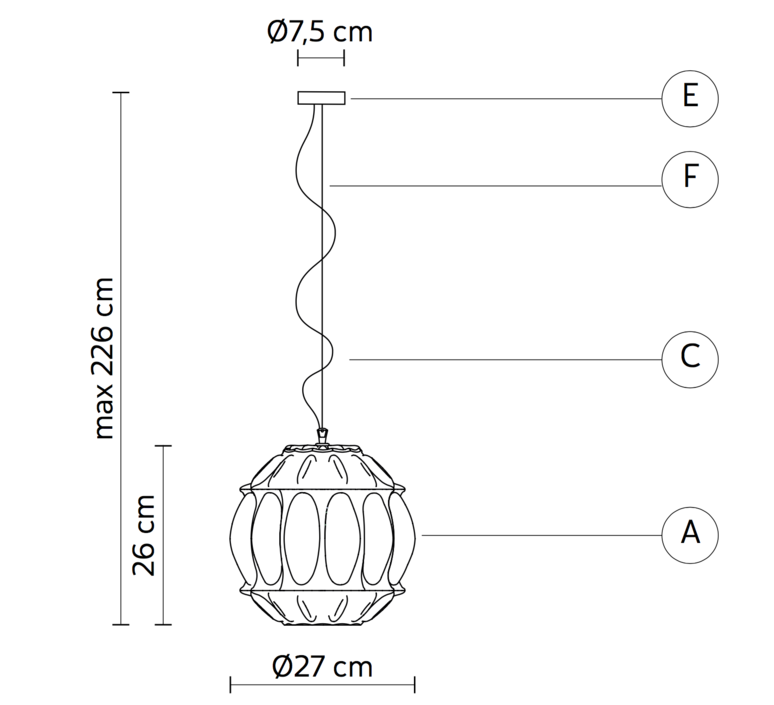 Ginger sphere edmondo testaguzza suspension pendant light  karman ginger se116 2a int  design signed 37743 product