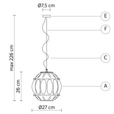 Ginger sphere edmondo testaguzza suspension pendant light  karman ginger se116 2a int  design signed 37743 thumb
