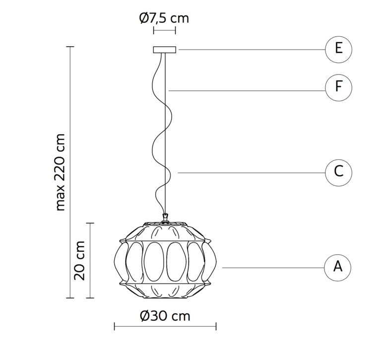 Ginger sphere edmondo testaguzza suspension pendant light  karman ginger se116 2f int  design signed 37730 product