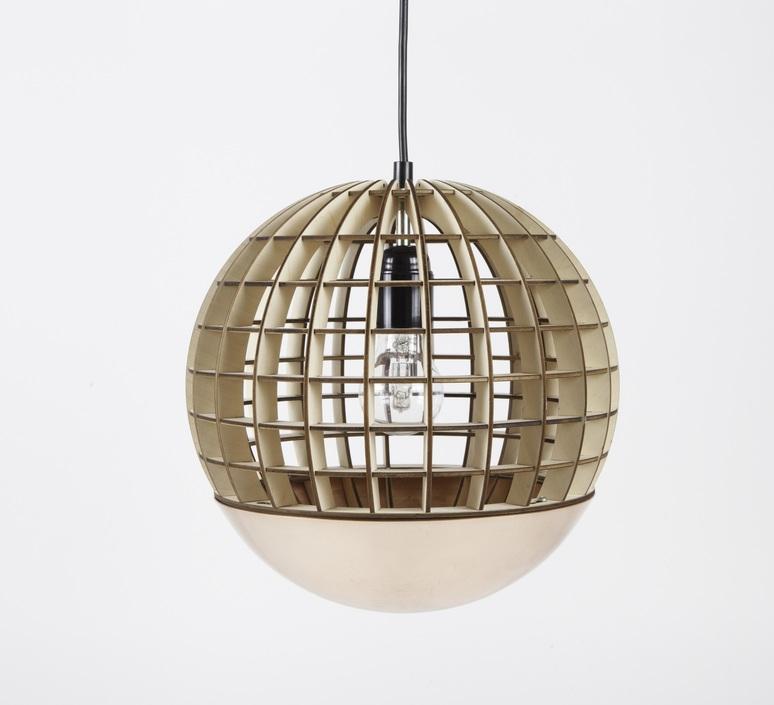 suspension globe bois cuivre 28cm massow design luminaires nedgis. Black Bedroom Furniture Sets. Home Design Ideas