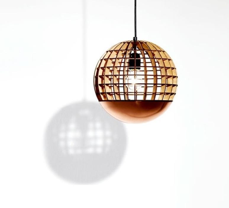 Pendant Light Globe Wood Copper 28cm Massow Design