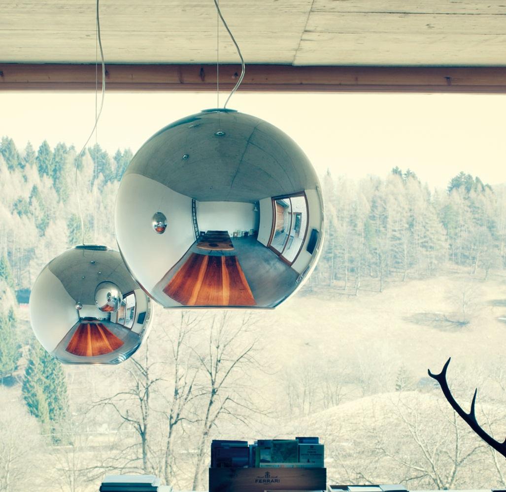 suspension globo di luce chrome 45cm fontana arte luminaires nedgis. Black Bedroom Furniture Sets. Home Design Ideas
