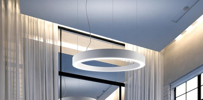 Suspension golden ring l08101 blanc led 3000k 14663lm 14663lm o300cm h15cm panzeri normal