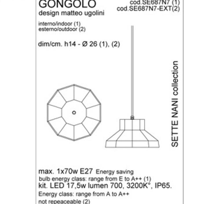 Gongolo matteo ugolini suspension pendant light  karman se687n7 ext  design signed 34864 product