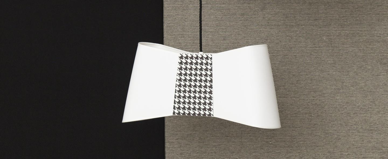 Suspension grand couture blanc pied de poule l50cm designheure normal