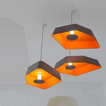 Suspension grand nenuphar led gris orange l118cm designheure normal