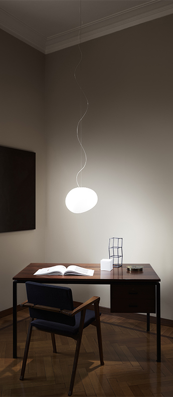Suspension gregg media led blanc et blanc led 2700k 2581lm l31cm h26cm foscarini normal