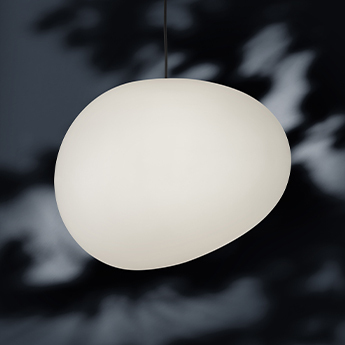 Suspension gregg outdoor grande blanc ip44 65 led l46cm h39cm foscarini normal