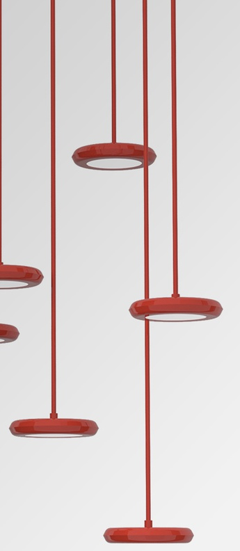 Suspension hal rouge led o12cm h2 5cm la chance normal