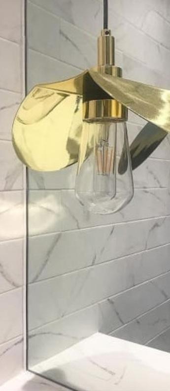 Suspension hali laiton poli verre transparent ip65 l28cm h22cm mullan lighting normal