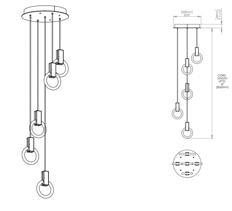Halo c5 round standard matthew mccormick suspension pendant light  studio matthew mccormick h c5rd s brb  design signed 53250 product