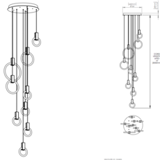 Halo c9 round mixed matthew mccormick suspension pendant light  studio matthew mccormick h c9rd m brb  design signed 53272 thumb