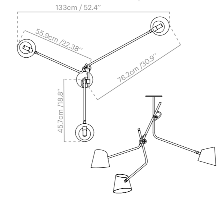 Hartau triple alexandre joncas gildas le bars suspension pendant light  d armes hatrwhox2  design signed nedgis 73826 product