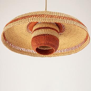 Suspension hatter lantern naturel gingembre o44cm h23cm golden editions normal