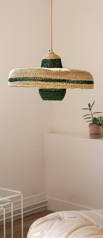 Suspension hatter lantern naturel herbe o44cm h23cm golden editions normal