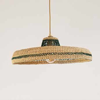 Suspension hatter naturel herbe o44cm h13 5cm golden editions normal