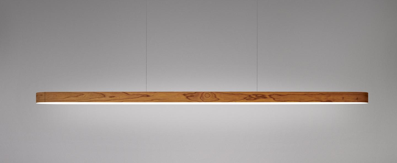 Suspension i line bois naturel de cerisier led 3000k 1808lm l150cm h5cm lzf normal