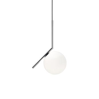 Suspension ic lights suspension 1 opalin et chrome o20cm h47cm flos normal