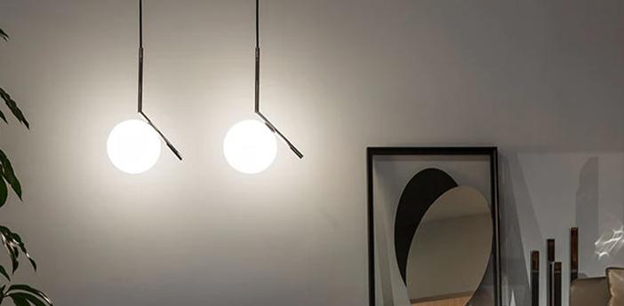 Suspension ic lights suspension 1 opalin et noir o20cm h47cm flos normal