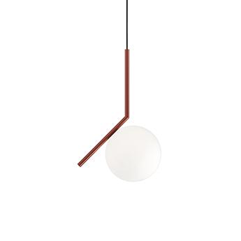 Suspension ic lights suspension 1 opalin et rouge burgundy o20cm h47cm flos normal