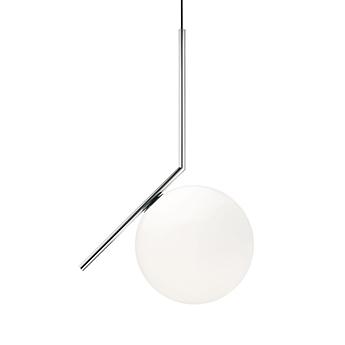 Suspension ic lights suspension 2 opalin et chrome o30cm h70 2cm flos normal