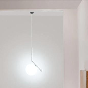 Suspension ic lights suspension 2 opalin et noir o30cm h70 2cm flos normal