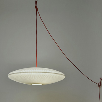 Suspension kaleidoscope petit branchement au sol blanc avec cable rouge o45cm h10 5cm celine wright normal