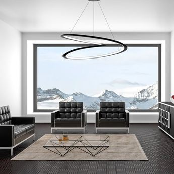 Suspension kepler directe noir led 2700k 4500lm o110cm h38cm nemo lighting normal