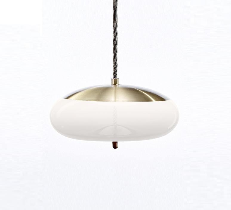 suspension knot disco laiton blanc 50cm h24 5cm. Black Bedroom Furniture Sets. Home Design Ideas