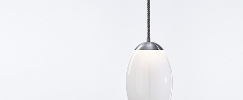 Suspension knot uovo blanc et argent h49cm brokis normal