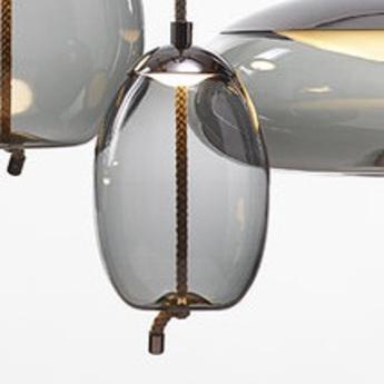 Suspension knot uovo gris fume led 2700k 1660lm o30cm h49cm brokis normal