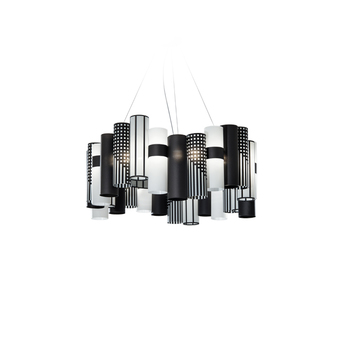 Suspension la lollo l noir et blanc led o80cm h35cm slamp normal