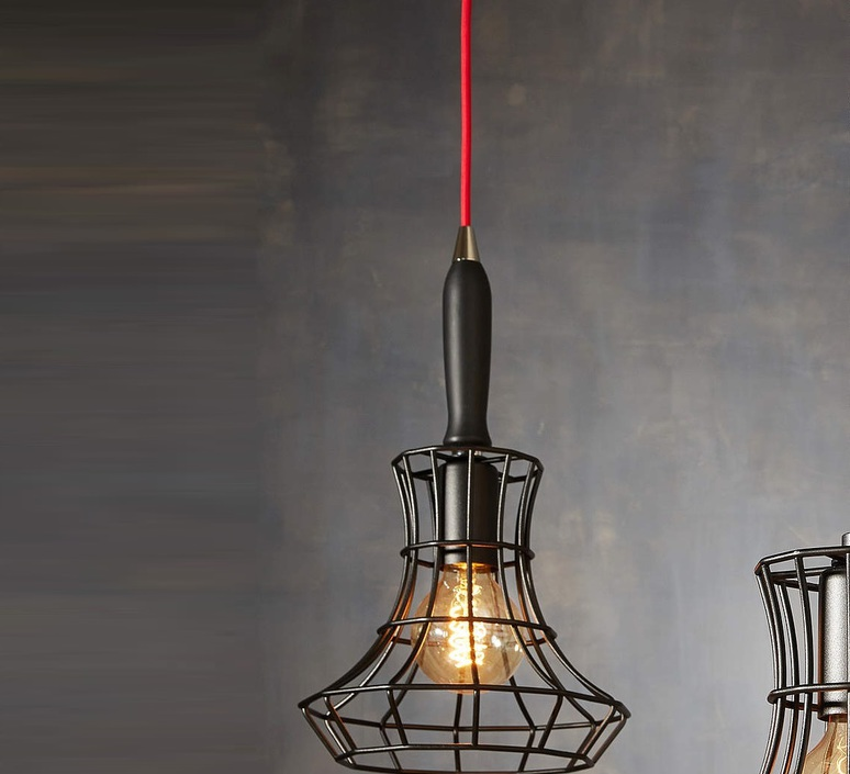 Lady cage massimo rosati zava lady cage suspension h37cm noir 9005 cable scarlet red rayon luminaire lighting design signed 17426 product