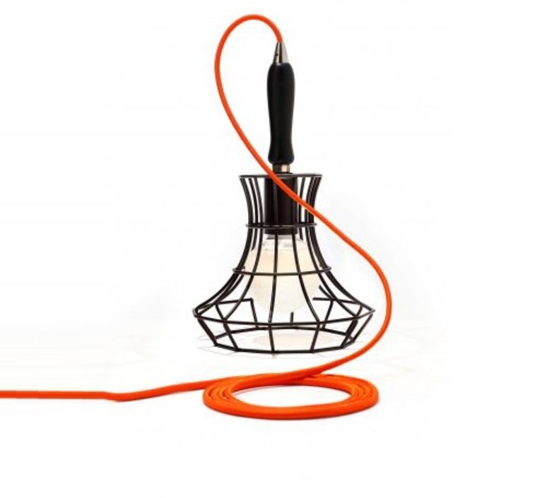 Lady cage massimo rosati zava lady cage suspension h37cm noir 9005 cable scarlet red rayon luminaire lighting design signed 17428 product