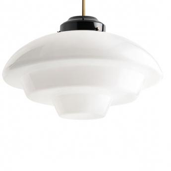 Suspension lampe en verre et en laiton noir et or o11 5cm h30cm zangra normal