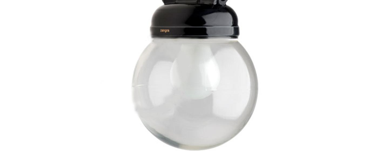 Suspension lampe etanche en pure porcelaine noire noir o14 5cm h13cm zangra normal