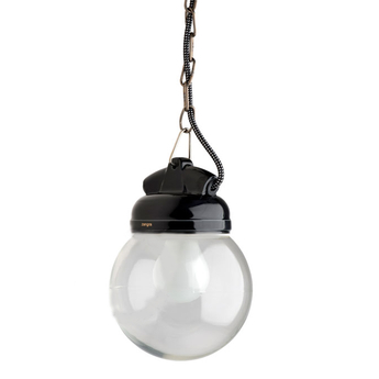 Suspension lampe etanche en pure porcelaine noire noir o14 5cm h13cm zangra normal