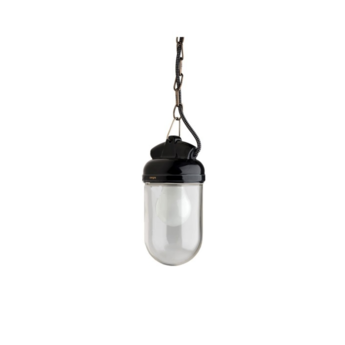 Suspension lampe etanche porcelaine glass 004 noir o10cm h14cm zangra normal