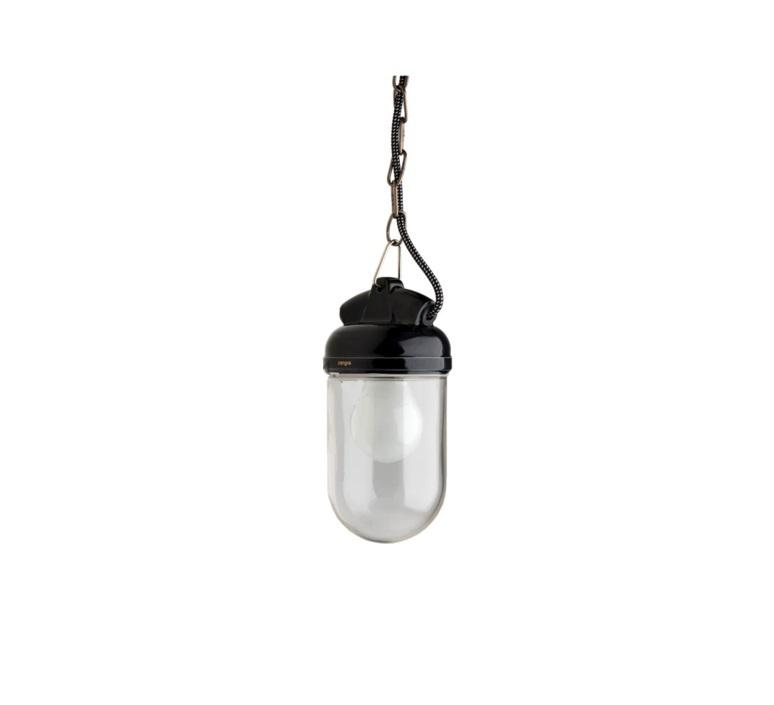 Pendant Light Lampe Etanche Porcelaine Glass 004 Black O10cm