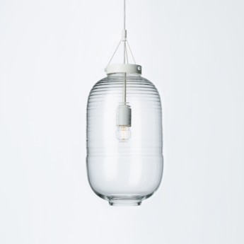 Suspension lantern blanc transparent o22 5cm h50 5cm bomma normal