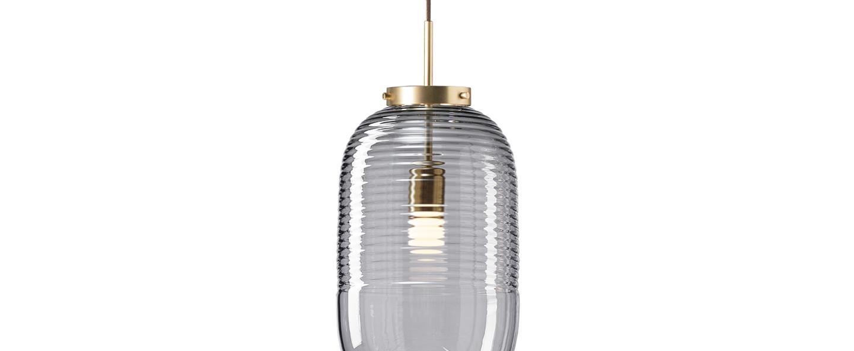 Suspension lantern fume laiton patine o25cm h50 5cm bomma normal
