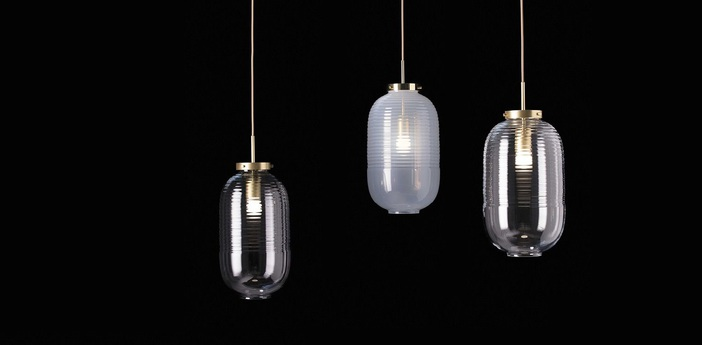 Suspension lantern fume laiton patine o25cm h50 5cm bomma normal